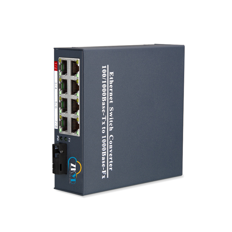 10/100/1000M 1 Fiber Port +8 RJ45 Port Fiber Optical Media Converter
