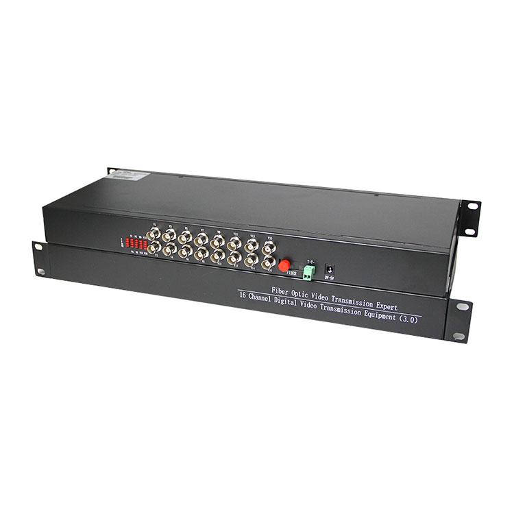 16 Channel 720P 960P Digital AHD CVI Video Optical Converter With RS485 Data